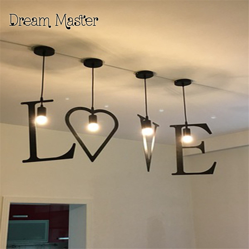 Bar chandelier modern simple creative personality geometric lamp Cafe Cafe art iron art balcony letter pendant lamp modern fashion simple circular wooden handle aluminum lid chandelier made of iron painting diameter 50cm ac110 240v