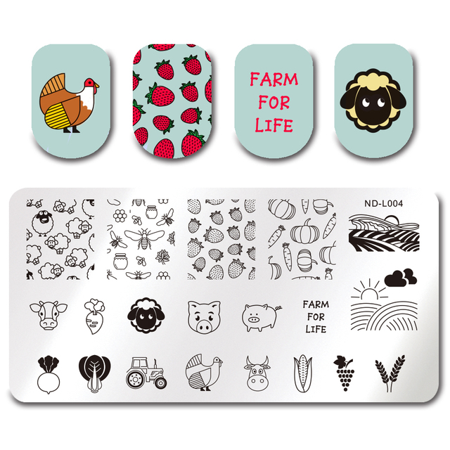 Nicole Diary Farm Crops Animal Stamp Plate Nail Art Image Plate
