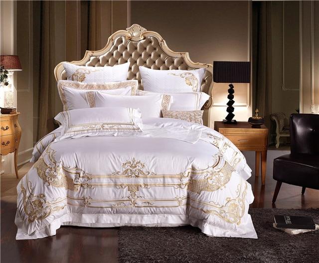 Luxus ägyptischer Baumwolle Stickerei Hochzeit Bettwäschesatz Weiß