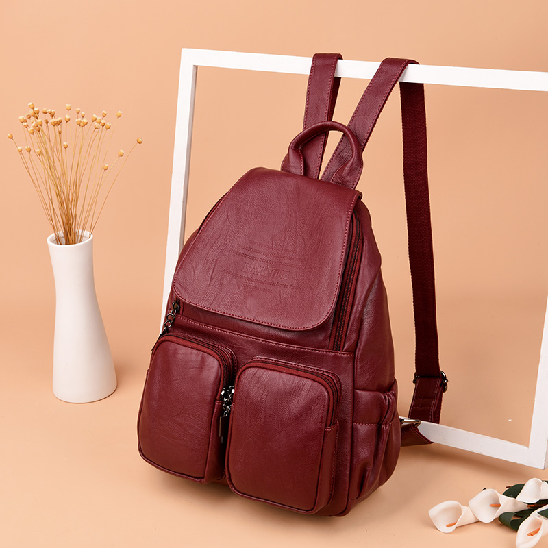 Vintage Ladies Shoulder Bag Sac A Dos Women's Leather Backpack Travel Women's Backpack Mochilas Student Bag Girl Preppy