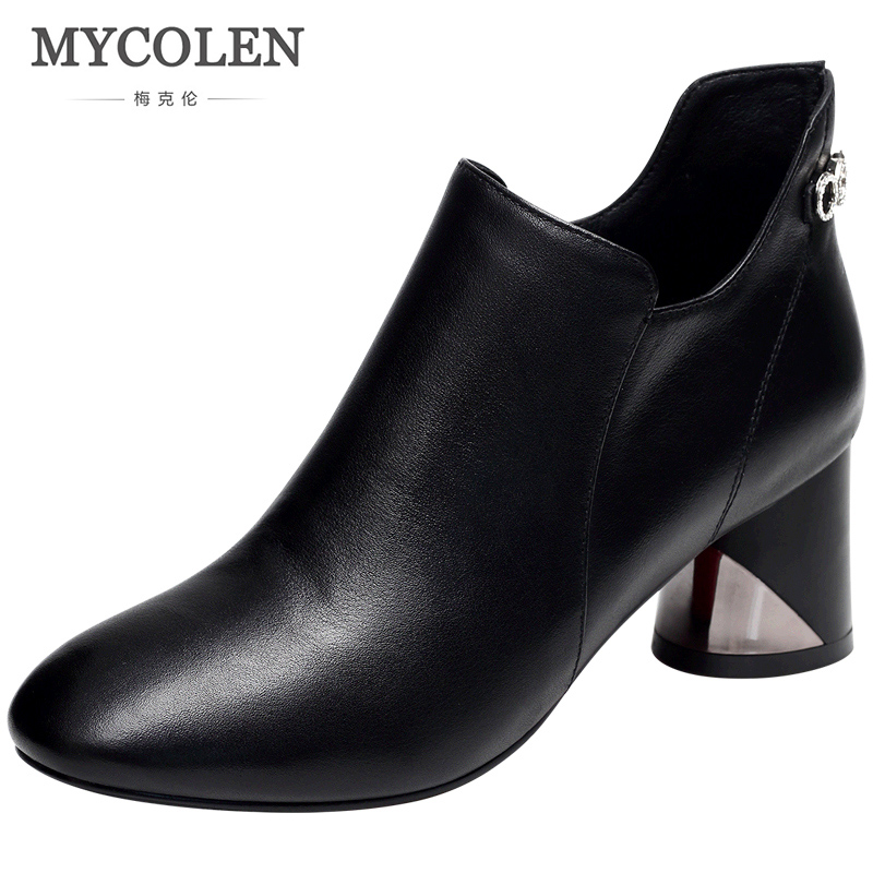 MYCOLEN 2018 Spring Autumn Women Comfort Chelsea Boots Luxury Italian Brand Slip-On Med High Heels Round Toe Shoes Woman enmayla new women slip on chelsea boots suede black crystal ladies ankle boots for women round toe med heels shoes woman