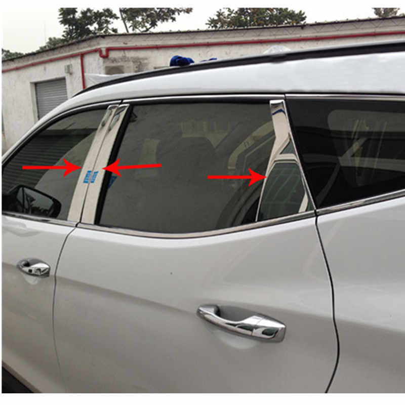 High quality stainless steel window trim cover(a Set of 6pcs) For 2013 2014 2015 2016 2017 Hyundai Santa Fe ix45