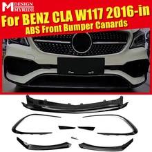 CLA W117 Sport Anterior lip Front Bumper 8 Pcs ABS Canards Fit For MercedesMB CLA180 CLA200 CLA250 bumper Splitter 2016-in