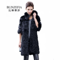 2019 BLINZEFIA Winter Women Real Lamb Fur Coats with Fox Fur Collar Russian Real Fur Parka Vintage Natural Fur Coat BZ1046