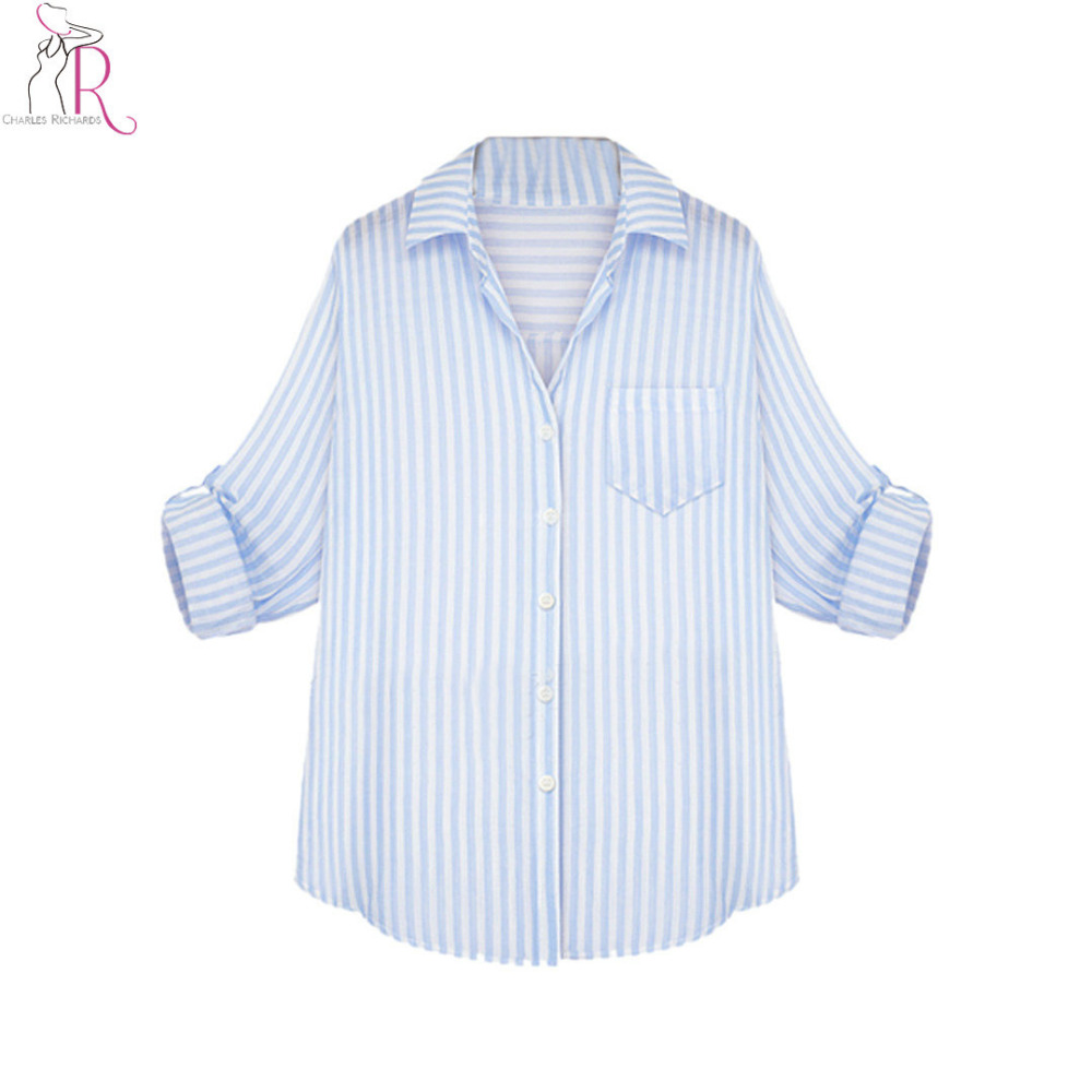 Women Sky Blue And White Striped Long Sleeve Shirt 2017