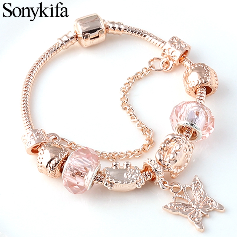 Sonykifa Rose golden butterfly Charm Bracelet With An crown Beads Fits Pandoro Bracelet Women Party Jewelry Dropshipping