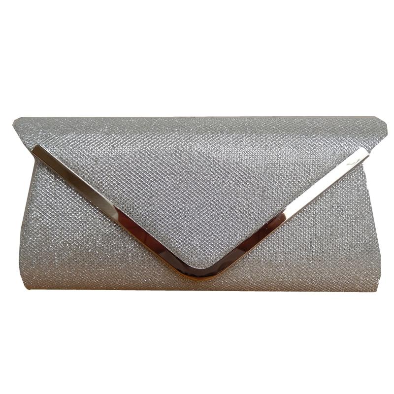 2018 Hot Sale Promotion Day Clutches Black Silver Shoulder V Metal Chain  Design Glitter Shine Bag Elegant Handbag Women Clutch cde3553de7d1