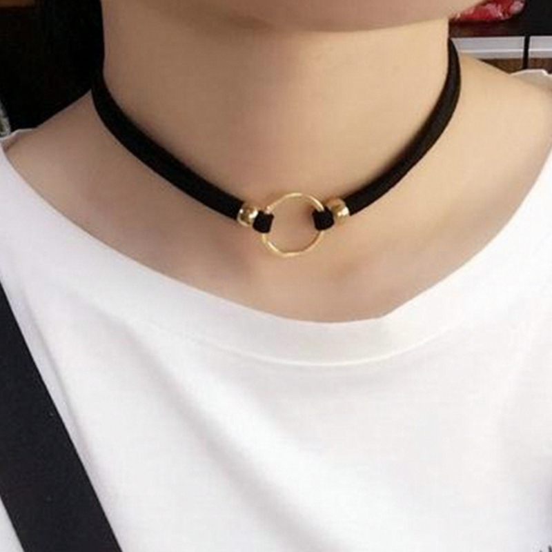 x11 Fashion Jewelry Gothic Style Black Leather Choker Necklace Gold Color Circle Round Necklace Women Birthday