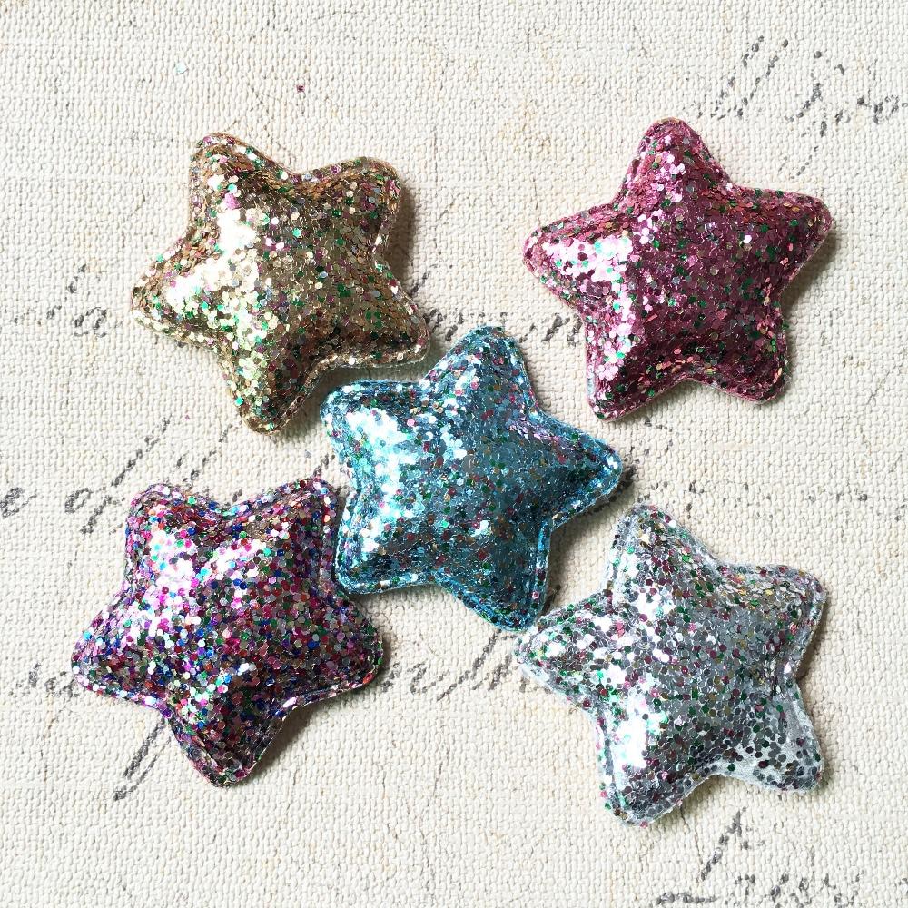 50PCS/Lot Glitter Fabric Kawaii Stars DIY Hair Jewelry Ornament Accessories Clips Garement Decor Fabric Button Patch Sticker