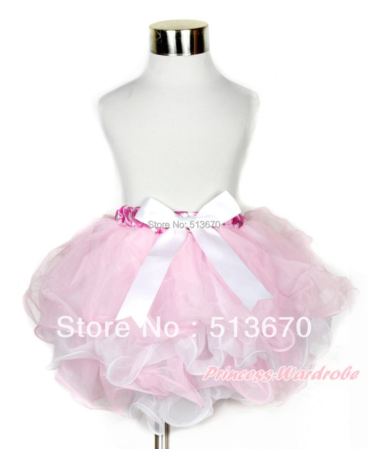 Hot Pink White Polka Dots Waist Light Pink White Flower Petal Full Pettiskirt With White Bow MAB211