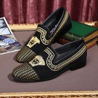 Брендовые дизайнерские модные мужские из натуральной кожи с цветочной вышивкой черные лоферы с круглым носком без шнуровки повседневная о