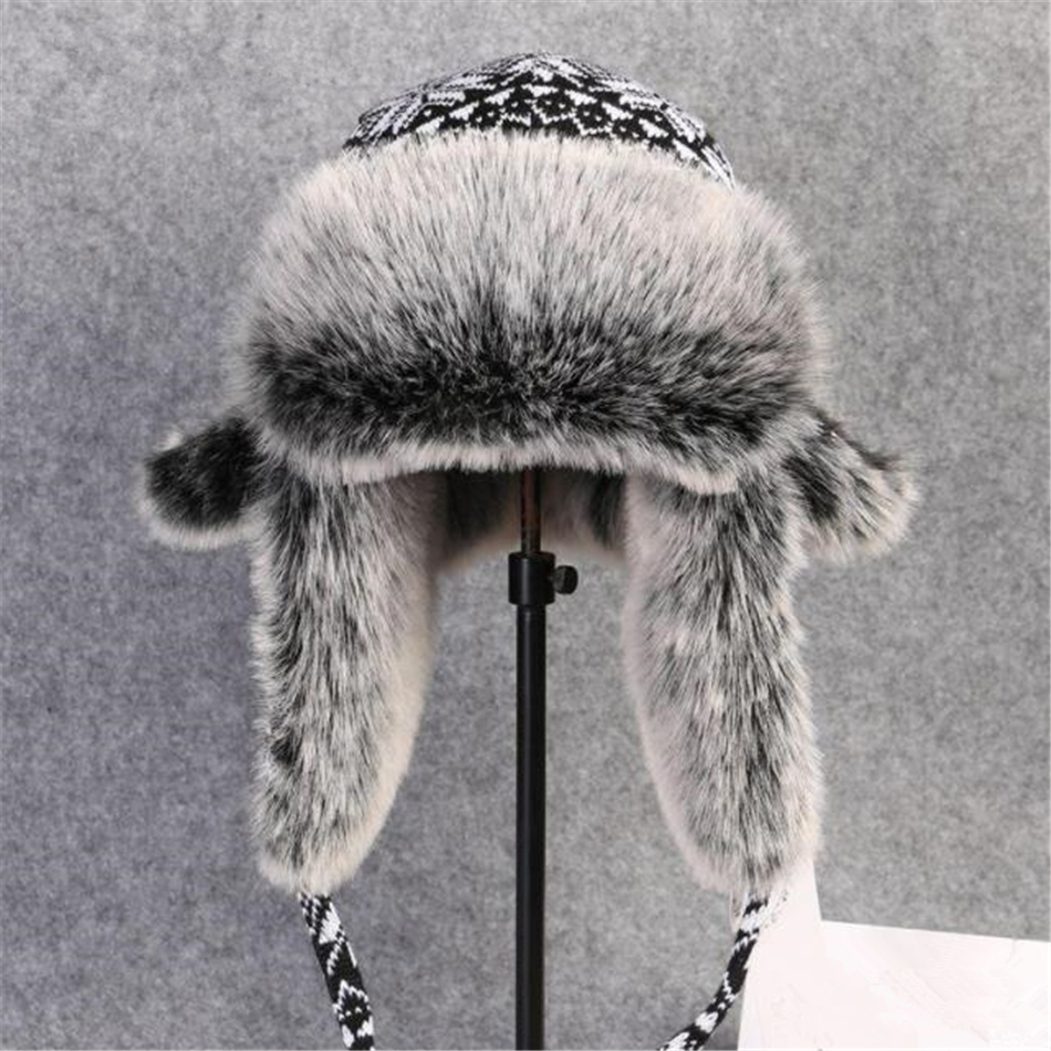 Image 2 - BUTTERMERE Russian Fur Hat Ushanka Black White Bomber Hats Male Female Ear Flaps Winter Thick Warm Knitting Outdoor Trapper HatMens Bomber Hats   -