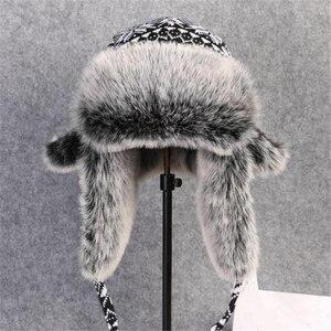 Image 2 - BUTTERMERE רוסית פרווה כובע Ushanka שחור לבן כובעי מפציץ זכר נקבה אוזני כלב חורף עבה חם סריגה חיצוני הצייד כובע