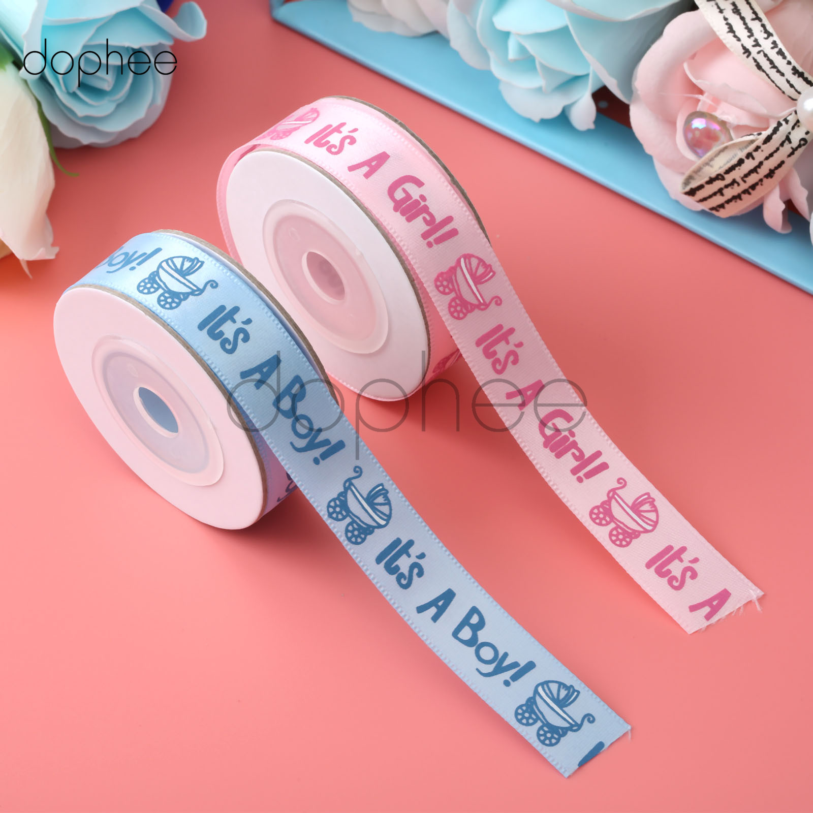 dophee 10 yards Satin Ribbon Baby Shower Printed  Its A Boy/Its A Girl r Birthday Party Decor DIY Card Gift Wrapping Supplies