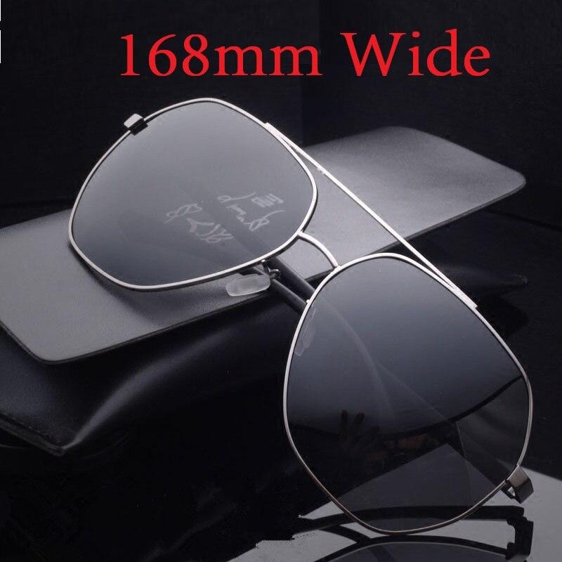 Vazrobe (168 мм) негабаритных солнцезащитные очки Для мужчин поляризационные жира лицо вождения солнцезащитные очки для мужчин зеркальные с ант...