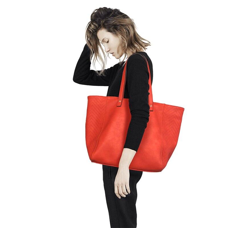 E. SHUNFA marque nouveauté femme sac à bandoulière grand solide couleur sac à provisions mode femmes sac à main rouge orange bleu