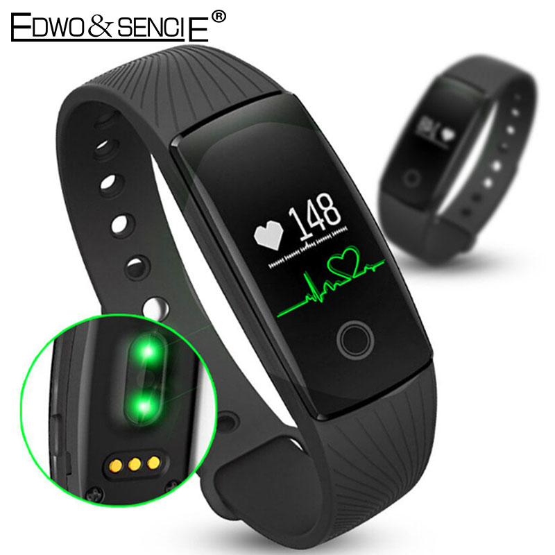 EDWO Smart Wristband ID107 Watch Heart Rate Monitor Bluetooth Smart Band Bracelet Pedometer Fitness Tracker For