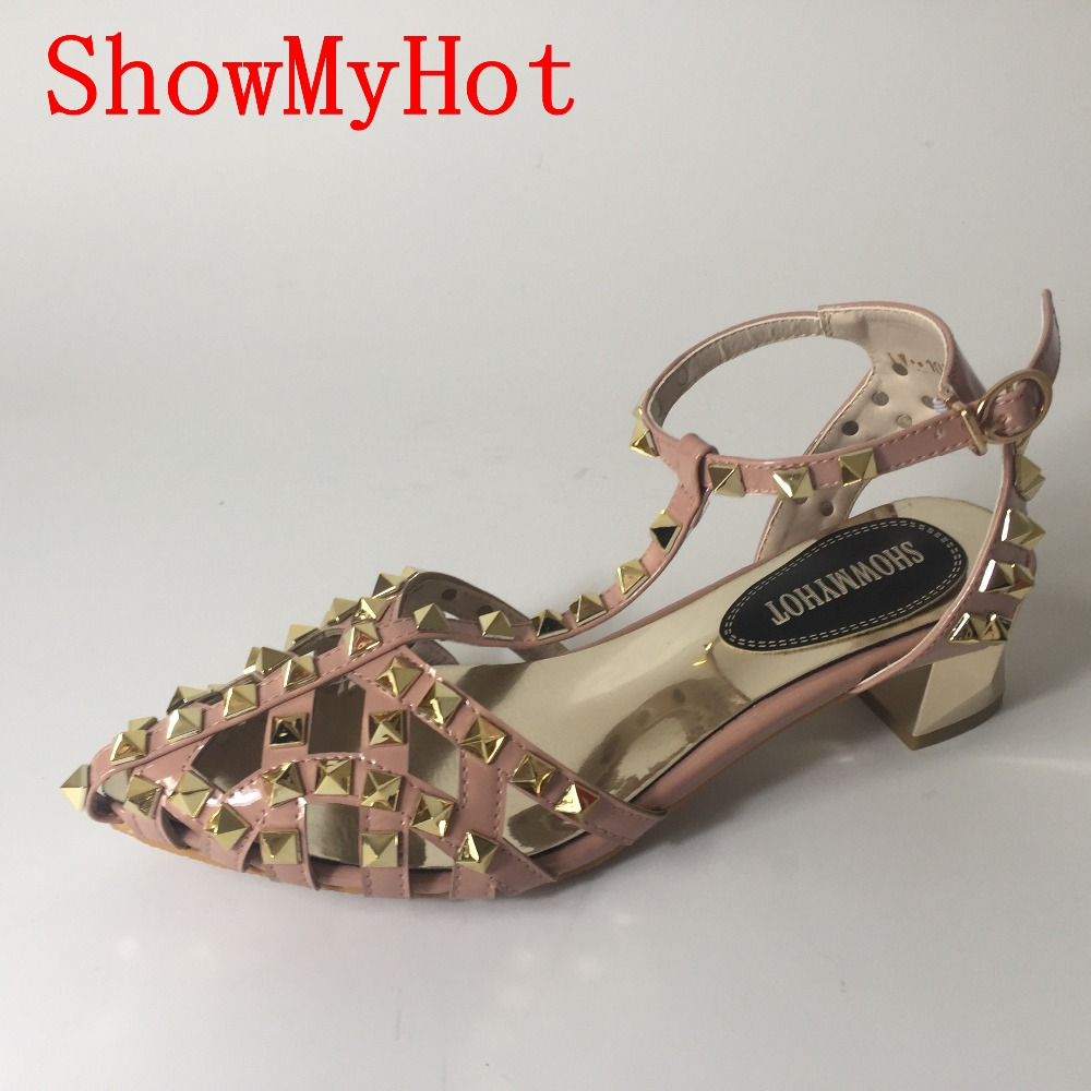 ShowMyHot Woman summer Fashion design Sandals High Quality Rome Buckle strap female Flats For Ladies Rivets