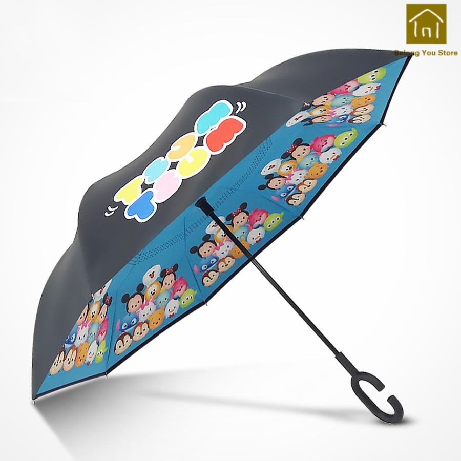 Coupe-vent Double couche Parapluie inverse créatif femmes Parapluie mâle parasol Parapluie Homme Poncho Zont pluie parapluies LKV007