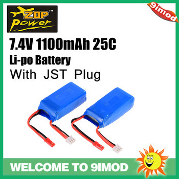 2Pcs ZOP Power 7.4V 1100mAh 25C 2S Lipo Battery JST Plug Rechargeable battery for Wltoys A949 A959 A969 A979 RC Car Drone