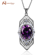 Trendy Ladies Jewelry Vintage Purple CZ Stone 925 Sterling Silver Natural Pearl Pendant Necklaces Fashion Wedding Accessories