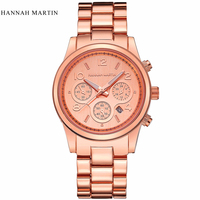 Marca de luxo topo hannah martin unisex relógio rosa ouro prata relógio de pulso para homem feminino com calendário relogio masculino feminino