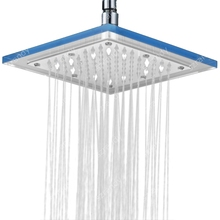 8 Inch Chrome Finish Rainfall Square ABS White LED Shower Head Without Shower Arm