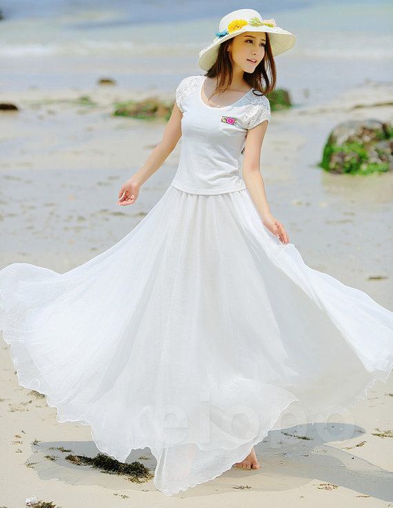 Aliexpress.com : Buy White Long Chiffon Maxi Skirt Ladies Silk ...