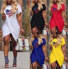 2019 Summer Womens Dress Love heart Print Receive Waist Slim
