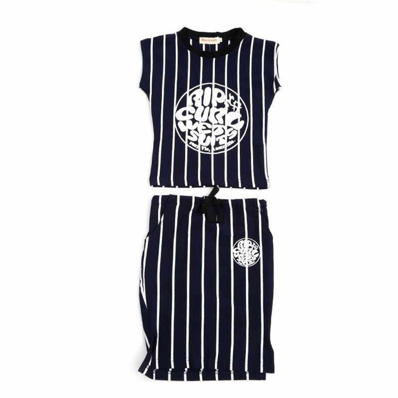 Girls Clothing 2 Pcs Round Neck Short Sleeve Print T Shirt/&Skirt Outfit Set