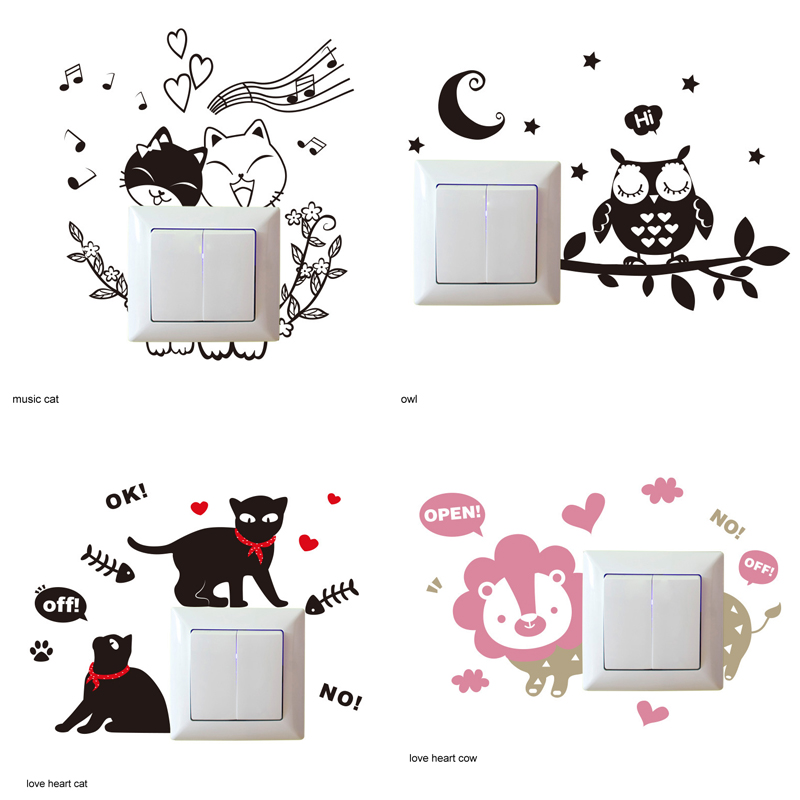 Light Switch Sticker DIY Kitchen Warmly Decorated Wall Stickers Vinyl Wall Decal Waterproof Living Room Socket Bathroom Bedroom