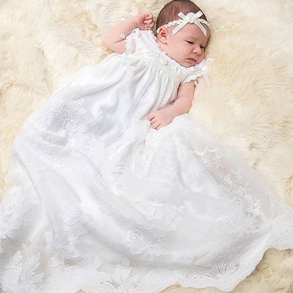 С шапка нарядное платье к длина Новинка Белый Летний стиль платье для маленьких девочек детское крестильное платье для девочек Vestidos