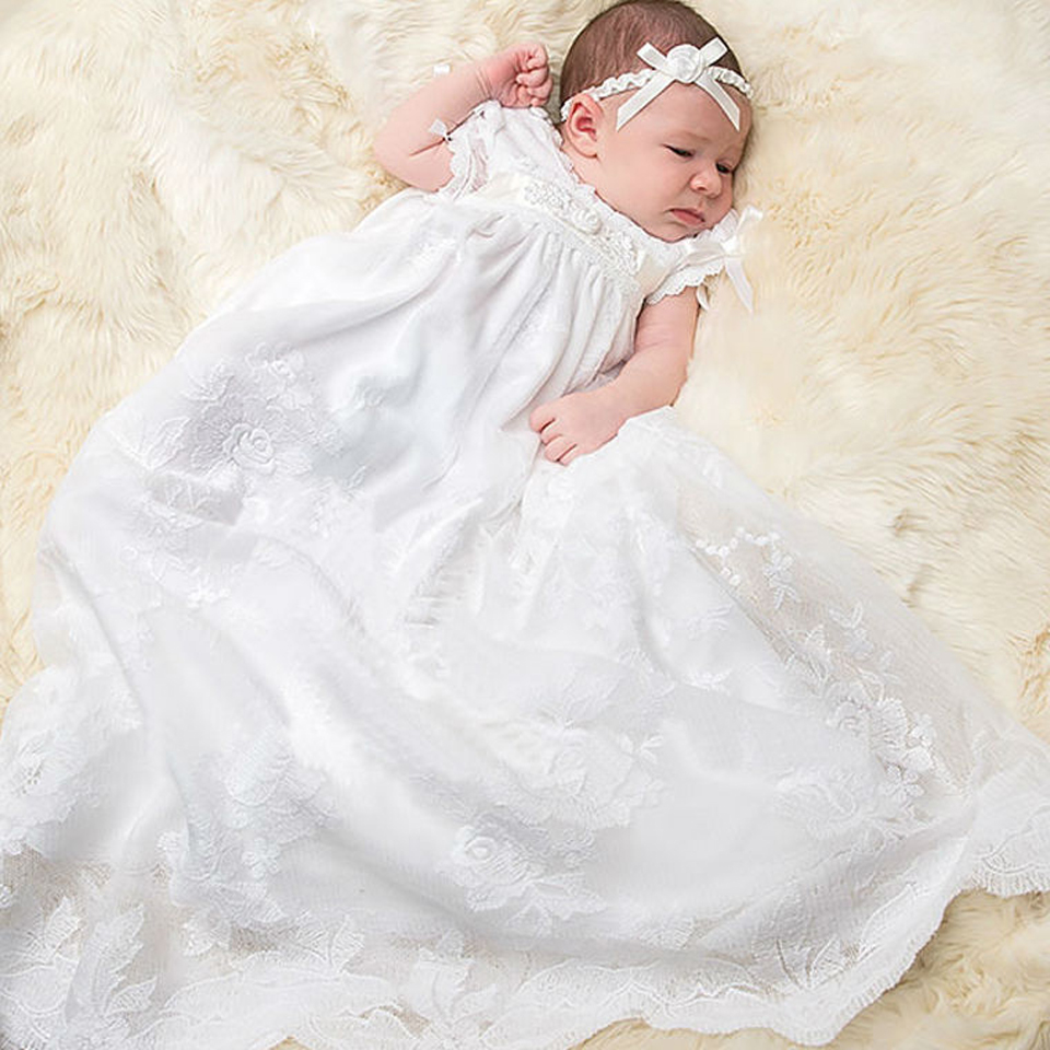 With Hat Baby Christening Gown to the length of the new white summer style baby girls dress baby girl christening gowns vestidos