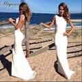 Vintage Scoop Cuello Alto Sin Respaldo Simplemente Vestido de Novia Blanco Elegante de La Envoltura Equipada Playa Vestido Maxi