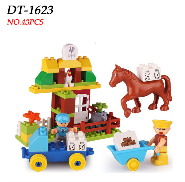 43pcs Duploe Blocks Farm life Classical Big Size Building Blocks Horse&Chicken Bricks Creative Assemble Block Toy for Children