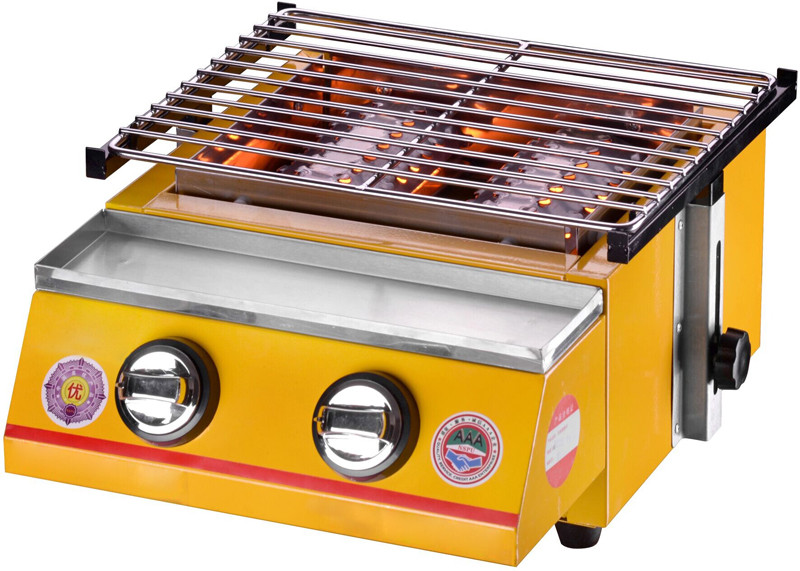 GZZT Gas Barbecue Furnace Environmental Barbecue Gas Barbecue Furnace 2 Burner Adjustable Height Barbecue Size 320*250mm