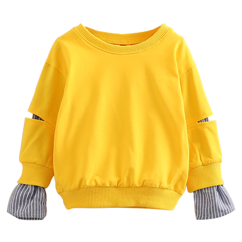 2018 Spring Autumn 2-10 11 12 Years Old Teenager Children Patchwork Fake 2 Pcs Baby Kids Basic Sweatshirt For Girls 11 12 Years years