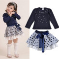 Girls' suits 2016 New arrival Autumn girls T-shirt + skirt 2pcs clothing Diamond dot bow dress children's skirt suit
