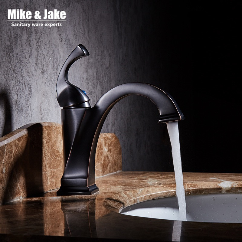 New Brass Oil Rubbed Bronze Black Faucet Bathroom Faucet Vanity Vessel Sinks Mixer Tap Cold And Hot Water Tap black mixer MJ7893 bathroom accessories black oil rubbed bronze toothbrush holders band ceramic cups wba474