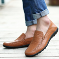 Plus Sizes 2016 New Autumn Men Flats Loafers Shoes Black Genuine Leather Mens Fashion Shoes Casual Breathable Male Driving Shoes