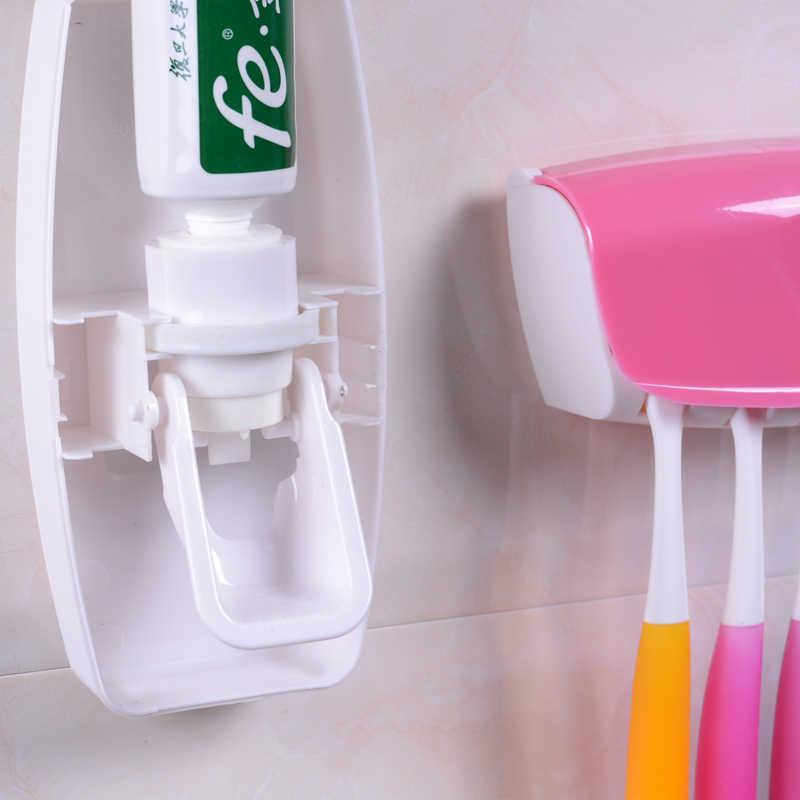 1 zestaw moda automatyczny dozownik pasty do zębów rodzinny uchwyt 5 szczoteczka do zębów łazienka gospodarstwa domowego stojak z uchwytem na ścianę łazienka narzędzia