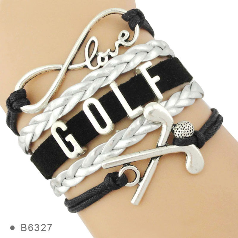 High Quality Infinity Love Golf Charm Pink Gray Blue Black Leather Sports Bracelets for Women