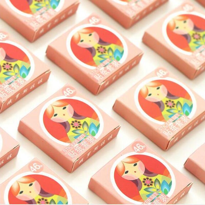 Купить с кэшбэком NEW Russian Doll Decorative Diy Diary Stickers Kawaii Planner Scrapbooking Sticky Stationery Escolar School Supplies 46 Pcs/box