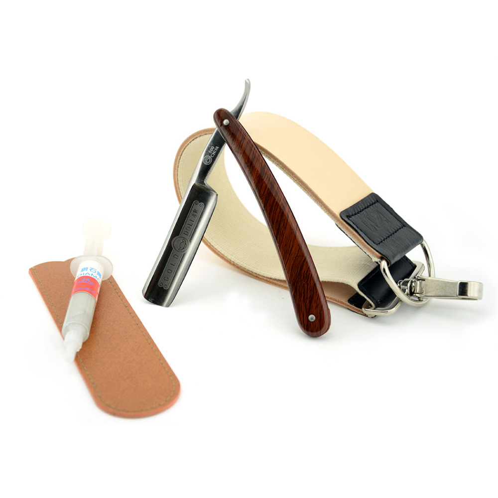 Vintage Men Shave Beard Straight Shaving Razor Cut Throat Knife Gold Dollar 800 + Leather Sharpening Strop + Polishing Paste men shaving straight razor cut throat knife gold dollar 400 1500 sharpening whetstone stone synthetic nylon brush strop
