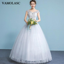 VAMOLASC Illusion Crystal V Neck Lace Appliques Ball Gown Wedding Dresses Sequined Tank Backless Bridal Gowns