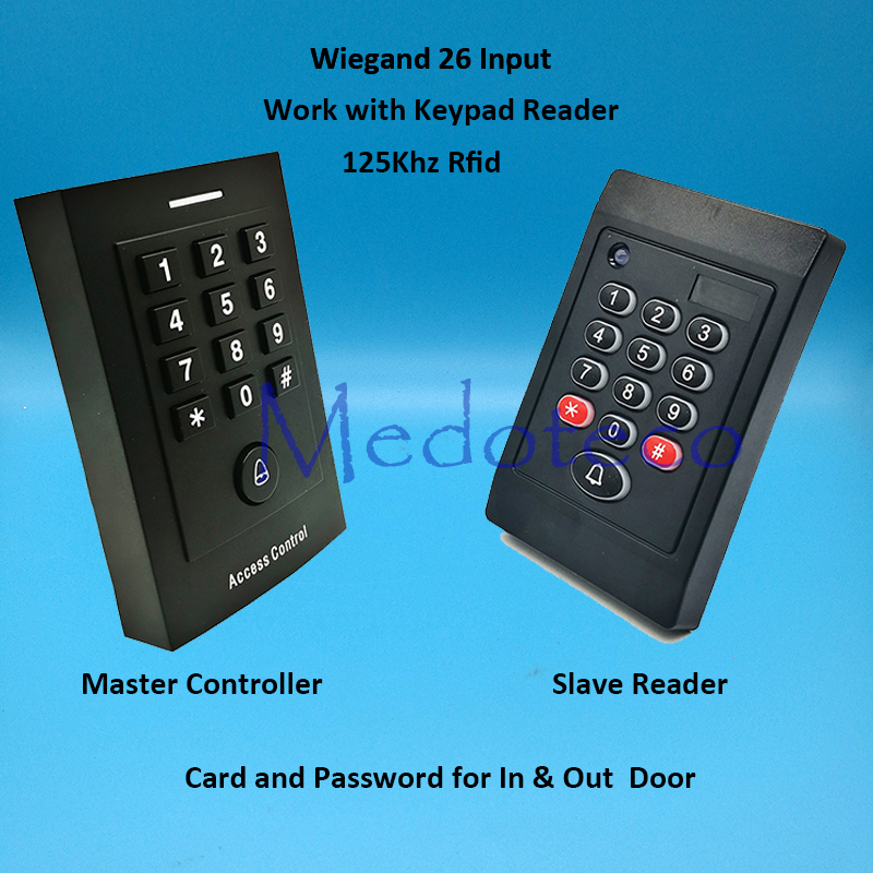 New 125khz rfid Card Access Control In and Out Door access controller wiegand 26 input for Keypad & Card Door Lock Reader mini access control keypad em card wiegand 26 output input with rfid keyfobs 125khz for door lock security system