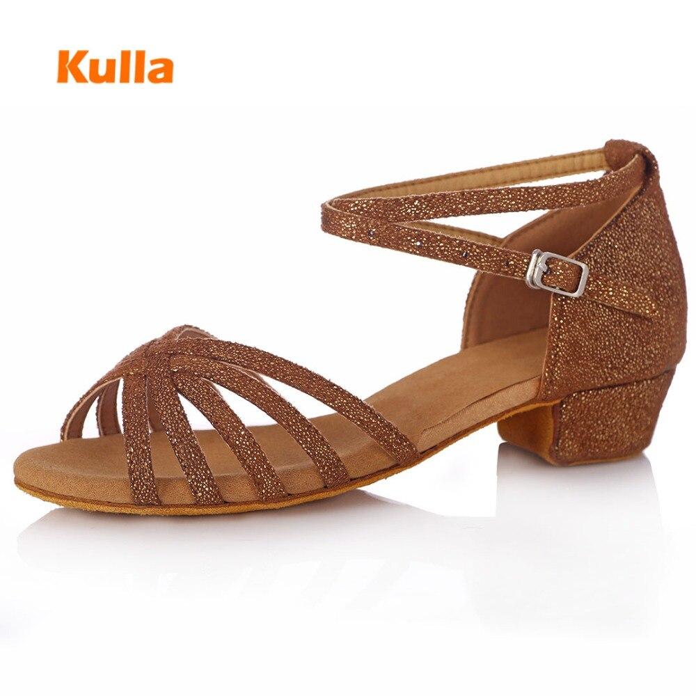 Women/Kids Latin/Tango/Salsa Dance Shoes Ballroom Sneakers Sequined Cloth Dancing Shoes For Girls Children Sandals Heeled 3.5cm