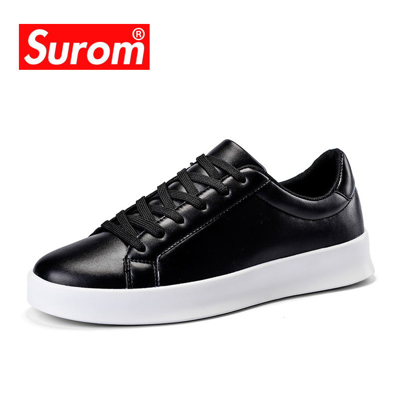 SUROM Spring Autumn Sneakers Men Casual Shoes Hot Sale 2018 Fashion Leather Breathable Classic White Black Shoes Men KrasovkiSUROM Spring Autumn Sneakers Men Casual Shoes Hot Sale 2018 Fashion Leather Breathable Classic White Black Shoes Men Krasovki
