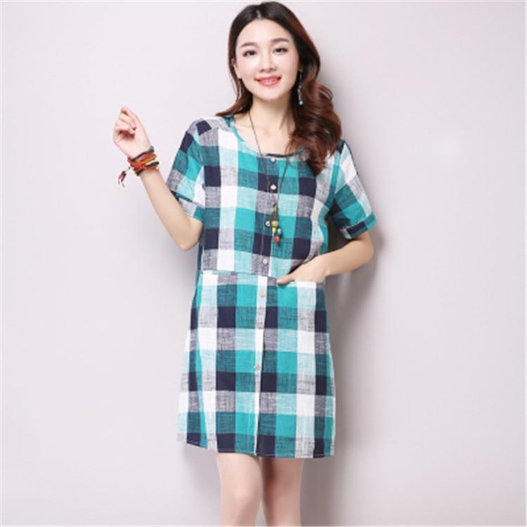 new summer maternity dresses cotton/linen check womens dresses pregnancy dresses maternity clothing summer clothing 16425