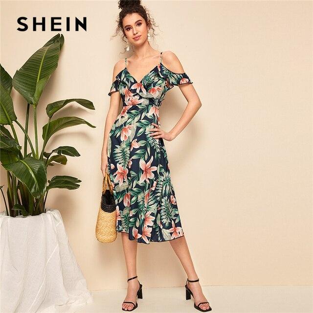 643c8ec1d33 SHEIN rétro Boho abricot Floral ruché manches surplis cou ceinturé robe mi-longue  femmes 2019 Fit et Flare élégant robes d été